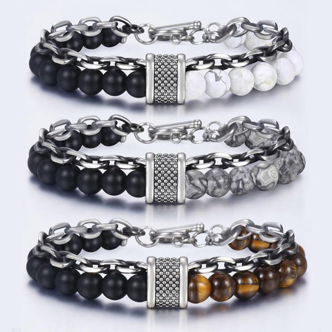 Natural Map Stone Mens Beaded Stainless Steel Bracelet - Bracelets