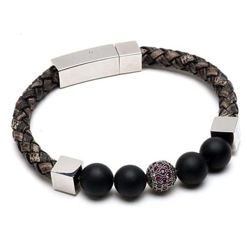 Natural Stone Beads Leather Bracelet Stainless Steel jewelry - Bracelets