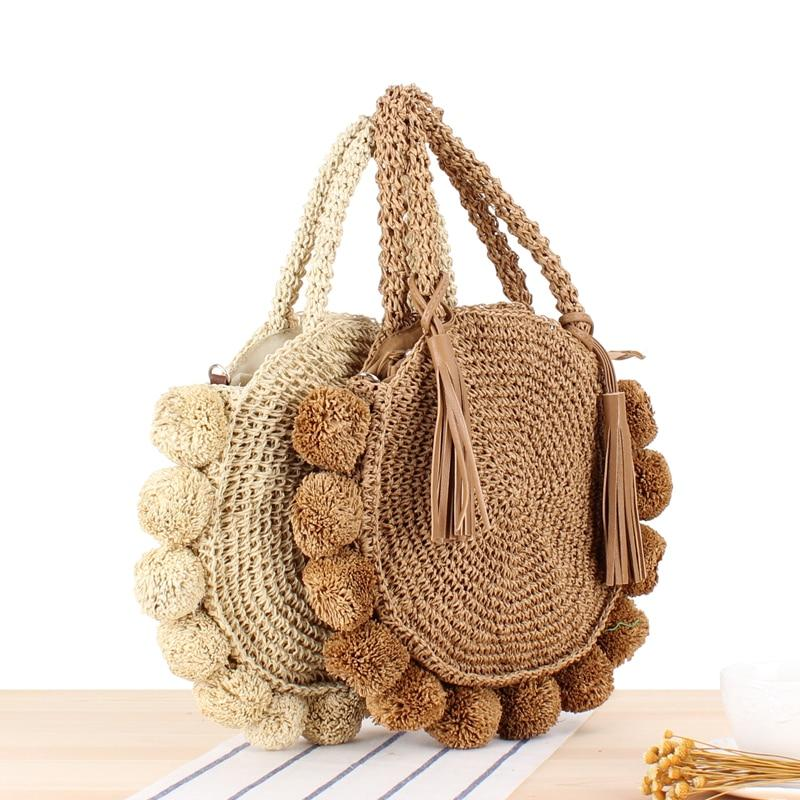 New Beach Rattan Handbags Round Woven Straw Shoulder Bag