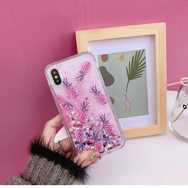 New Bling Glitter Dynamic Pineapple Liquid Quicksand Phone Back iPhone Case Cases