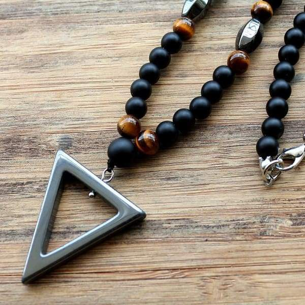 New Design Tiger Stone Bead Black Mens Hematite Triangle Fashion Necklace