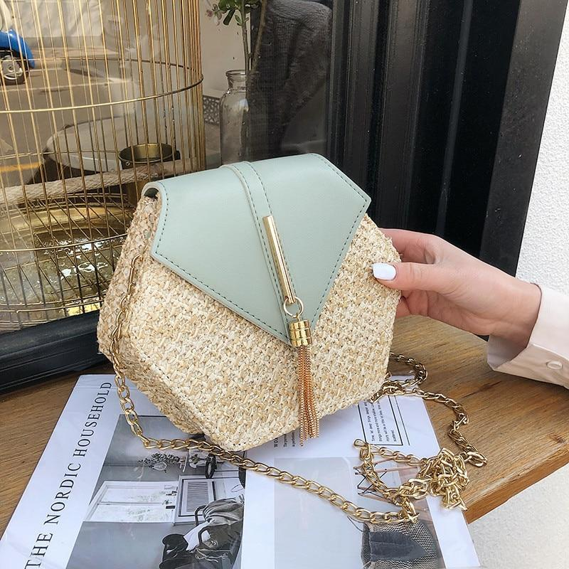 New Summer Fashion Hexagon Straw PU Leather Women's Rattan Crossbody Bag with Chain Strap