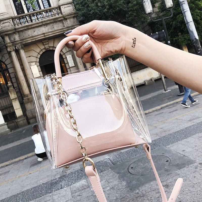 New Transparent Women Bags Casual Jelly Composite Bag