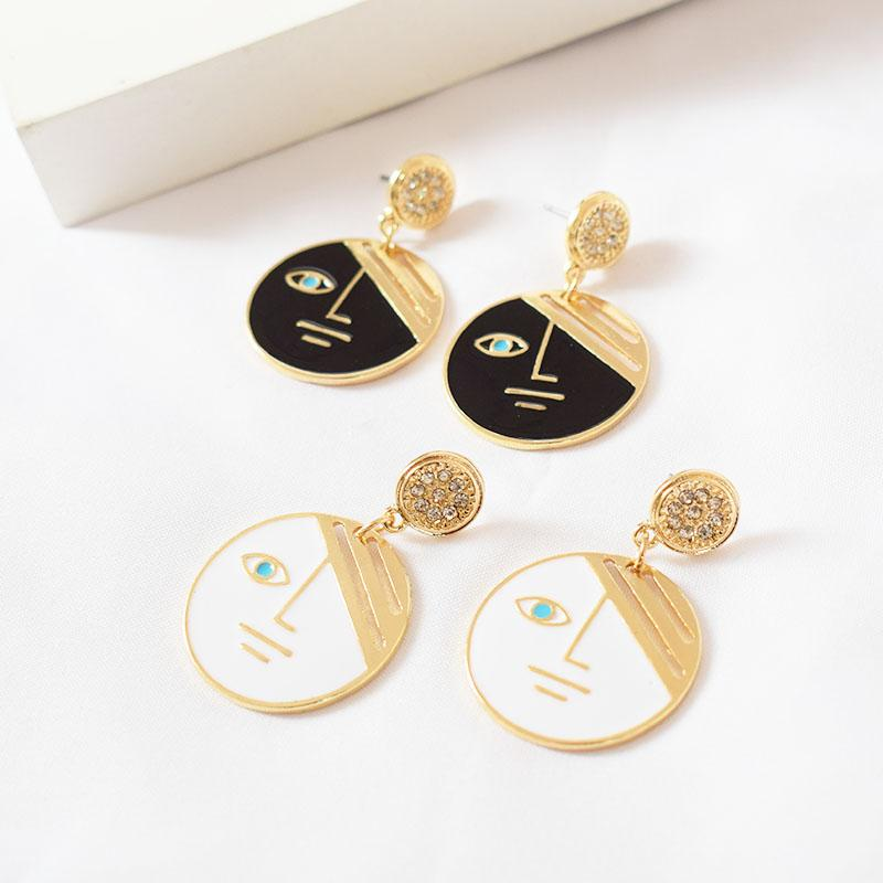 Personality Drip Oil Face Earring Abstract Drop Earrings