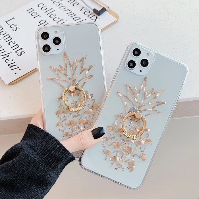 Unique Flamingo Pineapple Design Crystal Gold iPhone Case - LABONNI