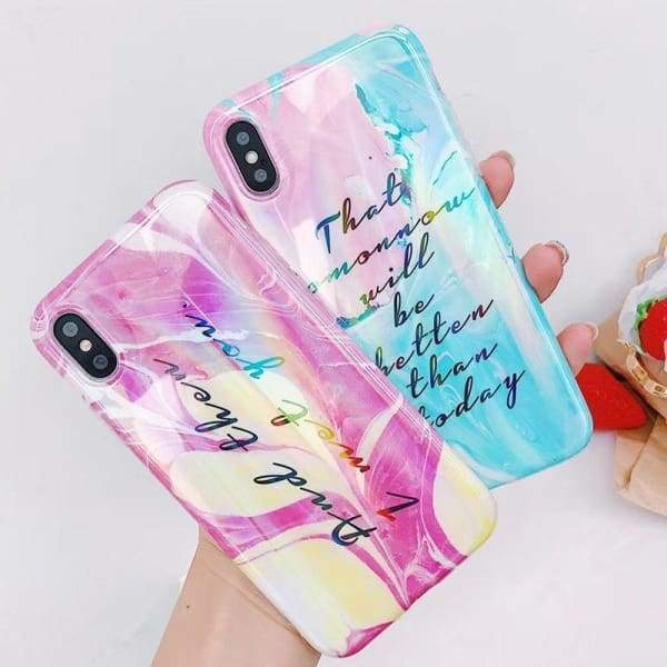 Pink Blue Aurora Laser Phone Case Shining Letter Print Tpu for Iphone Cases