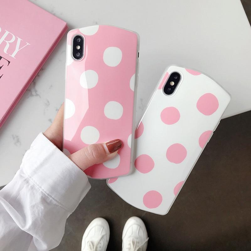 Pink White Polka Dot Phone Case Cute Candy Color iPhone Cover Cases