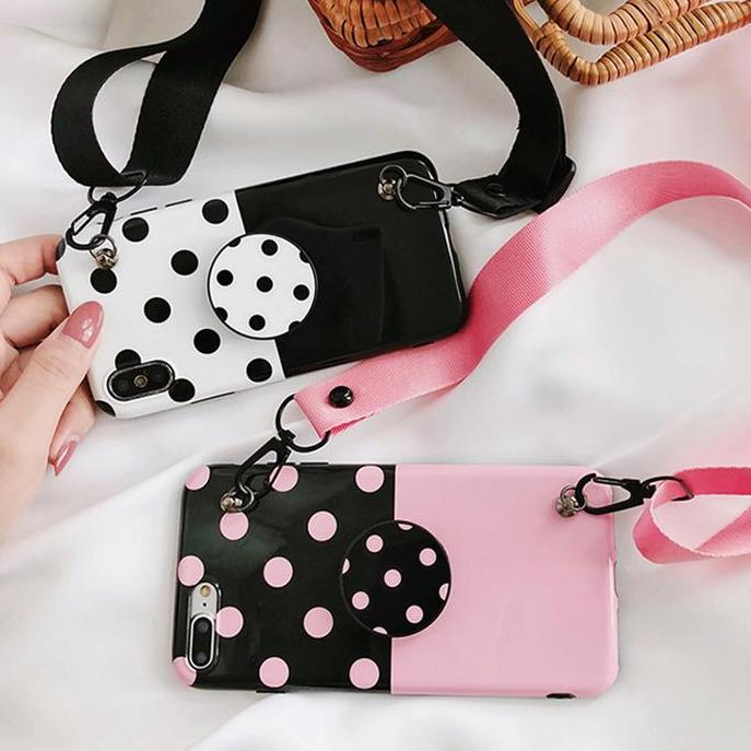 Polka Dots Stitching Black Phone Case iphone Cover Capa Cases