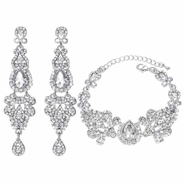 Chandelier Shape Bridal Crystal Jewelry Women Earrings and Bracelet Sets