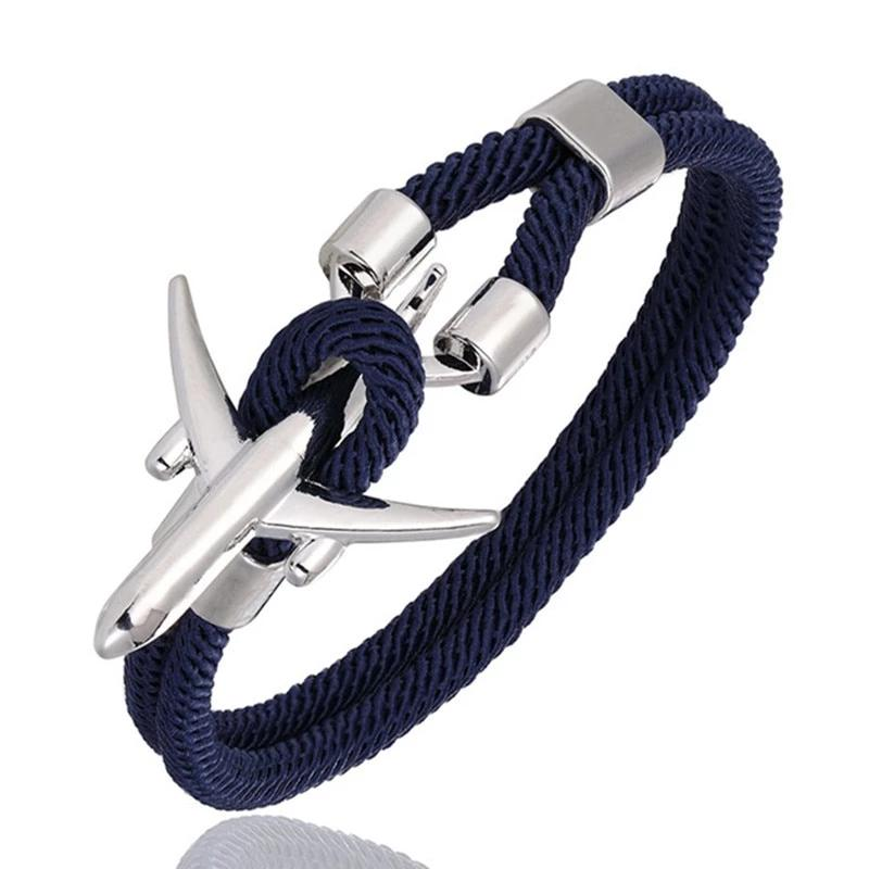 Airport Fashion Airplane Anchor Bracelets Charm Rope Chain Men Jewelry