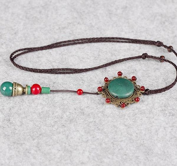Vintage Necklace Green Stone Flower Long Handmade Ethnic Pendant