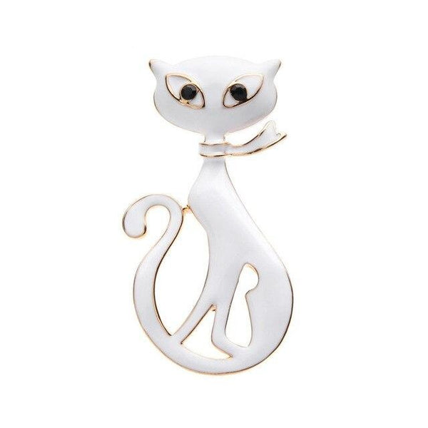 White Black Scarf Cat Brooches Girl Animal Brooch Pins Bag Hat Accessories