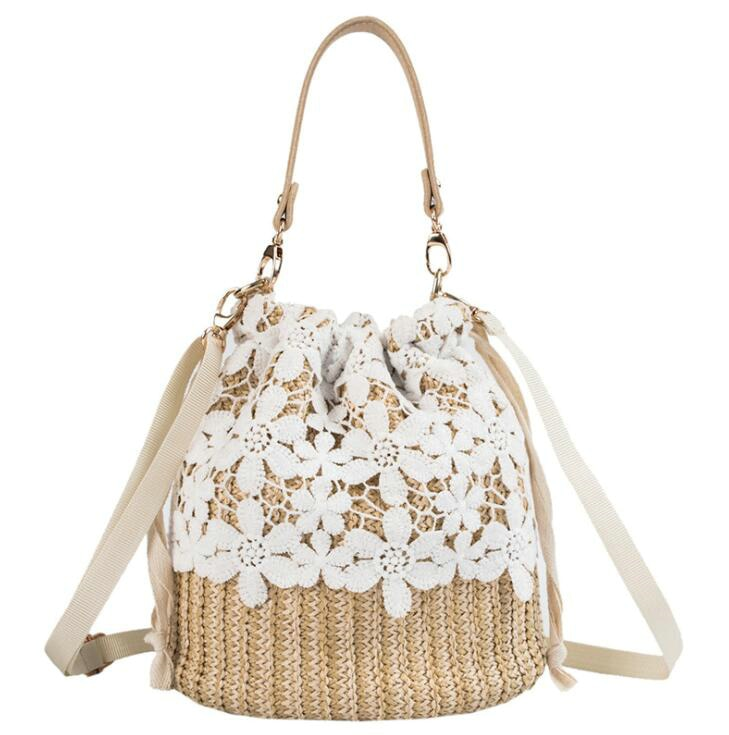 Cute Summer Straw Bag Hand Woven Bucket Tote Shoulder Bags