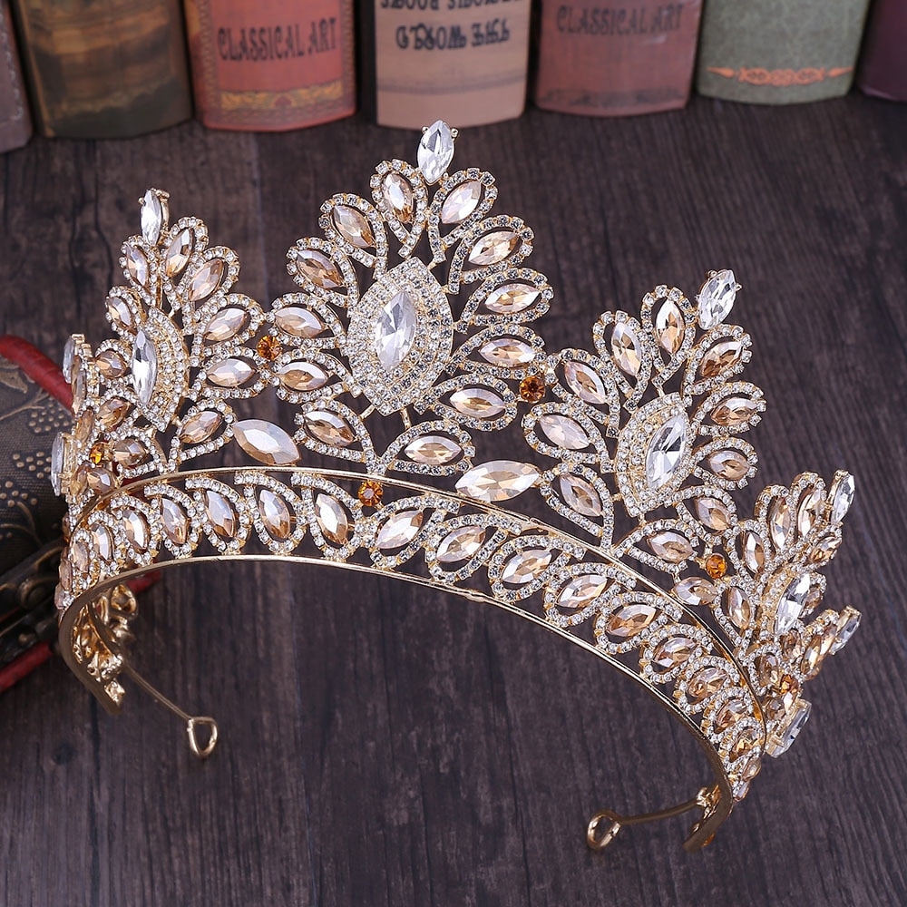 New Glitter Baroque Diamante Large Crystal Floral Crown