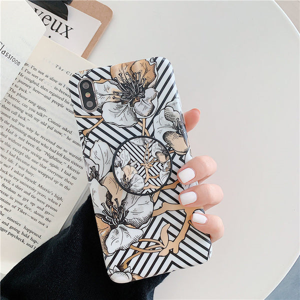 National Wind Feather Gold Flower Phone Case iPhone Back Cover With Stand