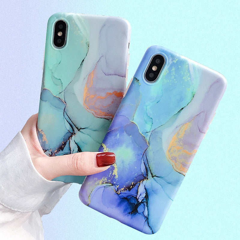 Candy Color Marble iPhone Case Matte Phone Cover