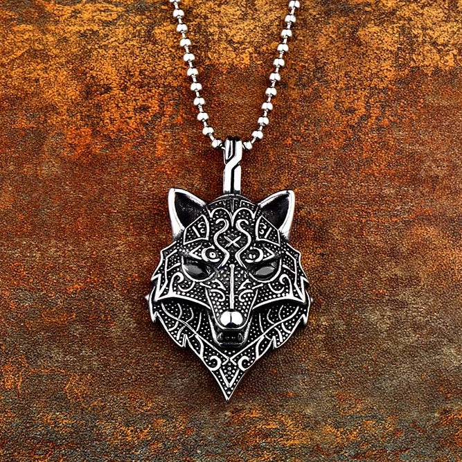 Odin's Wolf Head Necklace Pendant Amulet Stainless Steel Vikings Jewelry