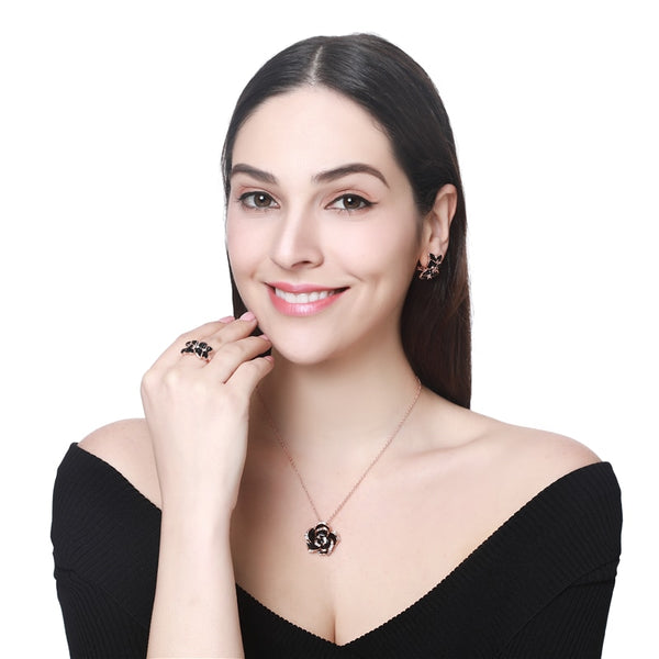 Fashion Women Rose Flower Enamel Jewelry Set Rose Gold Party Jewelry
