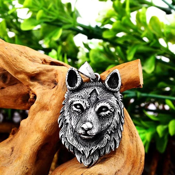Wolf Mood Necklace Stainless Steel Viking Norse Trendy Mens Jewelry LABONNI
