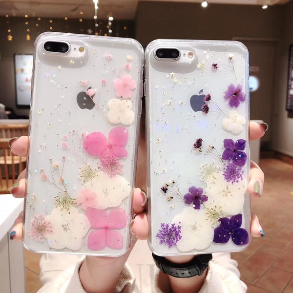 Real Dried Flowers Transparent Case iPhone Handmade Cases