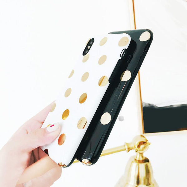 Dot Phone Case For iPhone Gold Plating Wave Point Phone Back Cover