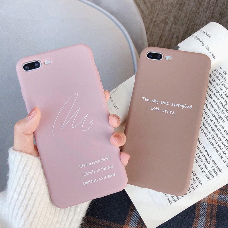 Simple Text Letter iPhone Case Candy Color Matte Phone Cases