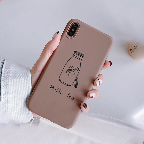 Simple Text iPhone Case Candy Color Matte Phone Case Back Cover