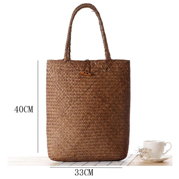 Summer Bamboo Woven Boho Straw Beach Tote Bag