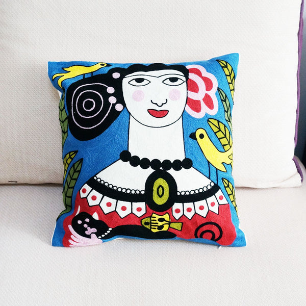 Cotton Nordic Mythology Character Embroidered Square Pillow Cover Cushion Case