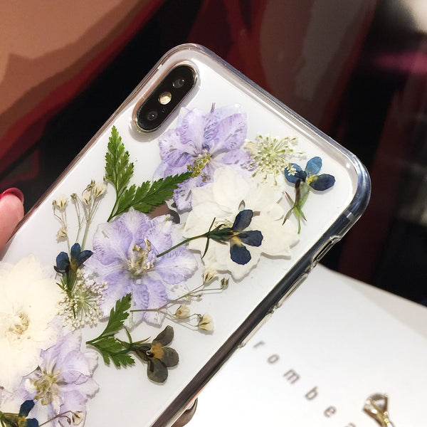 Real Pressed Dried Flowers iPhone Case Clear Floral Cover