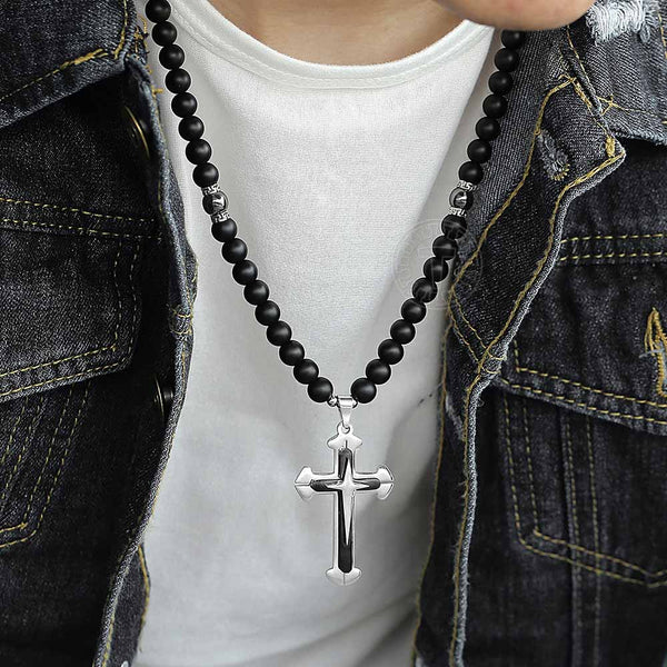 Beads Long Chain Necklace For Mens Black Cross Crucifix Pendant