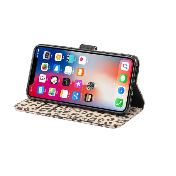 Wallet Flip Case Leopard Print Leather Phone Case Animal Print iPhone Case