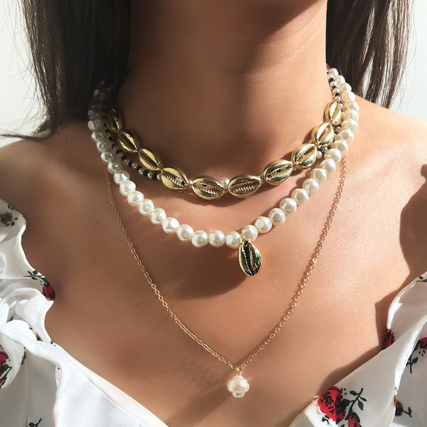 Layered Pearl Necklace Seed Bead Alloy Sea Shell Multi-layer Necklace