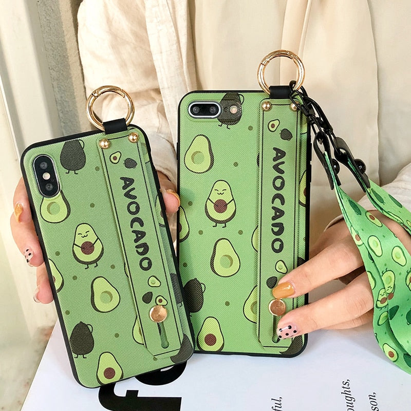 Cute Avocade Phone Case Phone Holder for iPhone X XR XS Max Fruit Cover