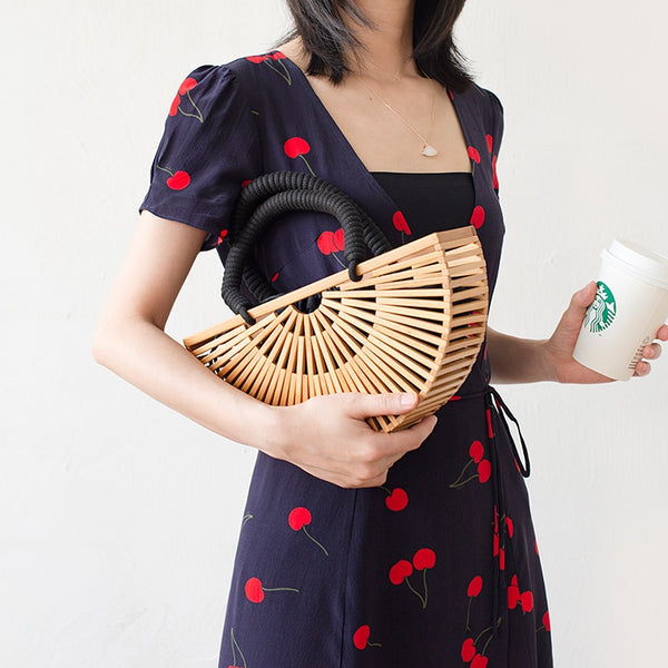 Our 2020 luxury design unique chic half round bamboo tote for women is eco-friendly. This perfect Halfmoon wood hollow out design shoulder bag has summer beach fashion style, easy to match also can be used as a handbag basket. You will love this environmental friendly semi circle oval crossbody bag and decorative look