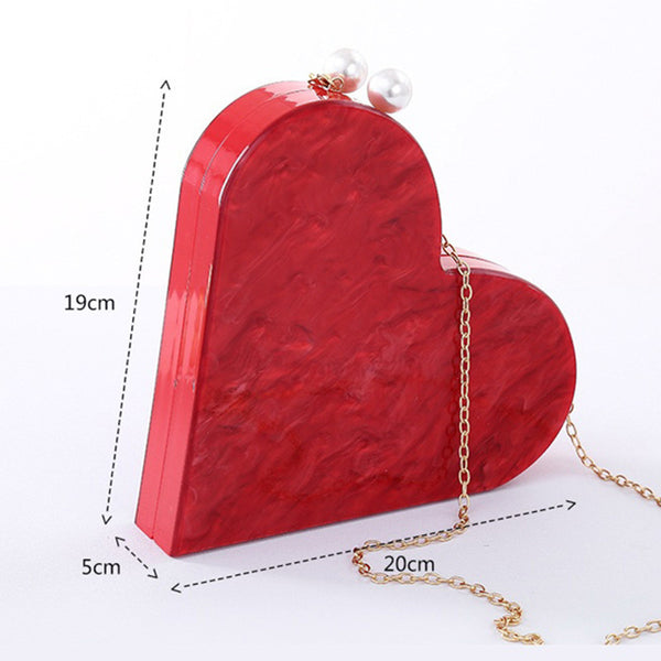 Clutch Bag Red Heart Shape Chain Box Bag with Pearls Closure Acrylic Evening Purse
