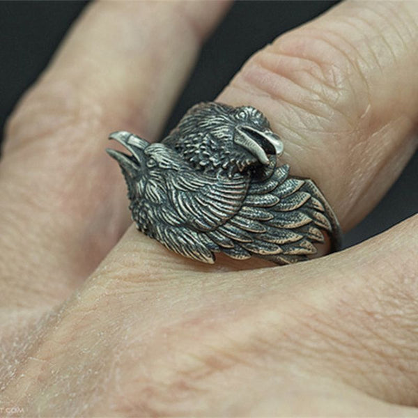 Double Eagle Head Steel Biker Ring Men Odin Crow Nordic Amulet Jewelry