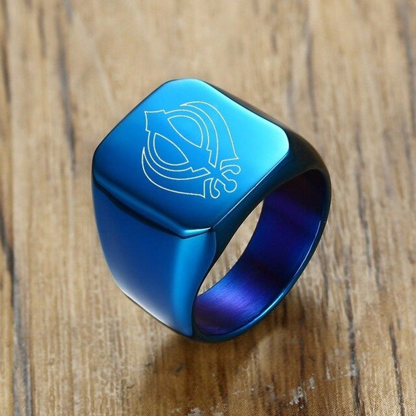 Khanda Signet Ring Personalized Engraving Inspiration Blue Steel Rings