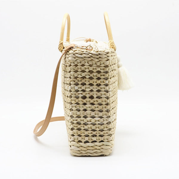 Handmade Woven Shoulder Bag Summer Bohemian Straw Tote