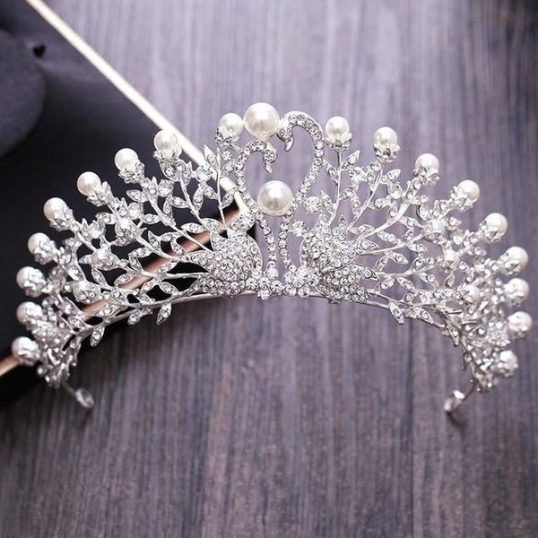 Gorgeous Wedding Pearl Tiara Crystal Rhinestone Bridal Crown jewelry Sets