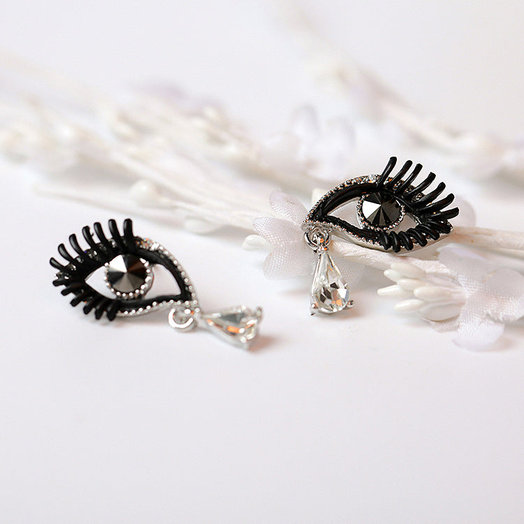 Crystal Eye Tear Eyelash Earring Women Creative Black Eye Stud Earrings