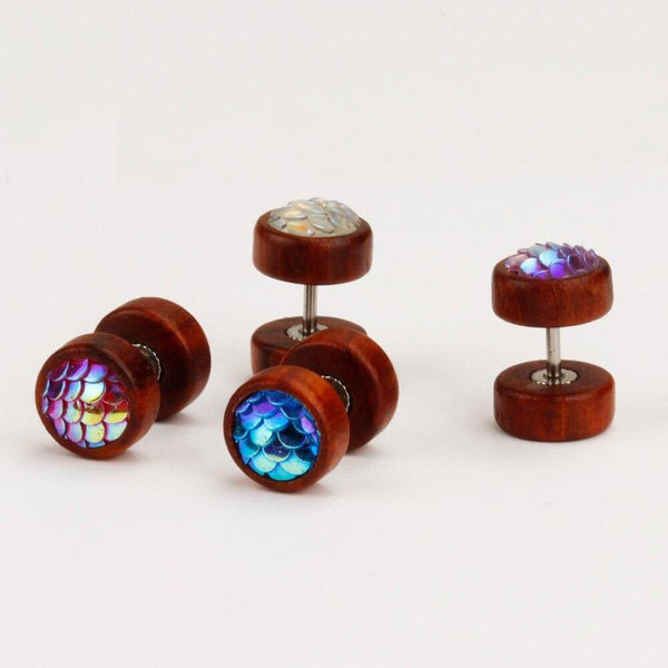 Fashion Fake Piercing Wood Earrings Body Jewelry Mix 4 Colors Set