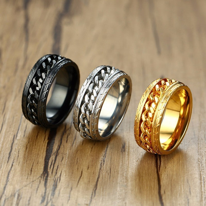 Cool Black Spinner Chain Ring for Men Tire Texture Steel Rotatable Links