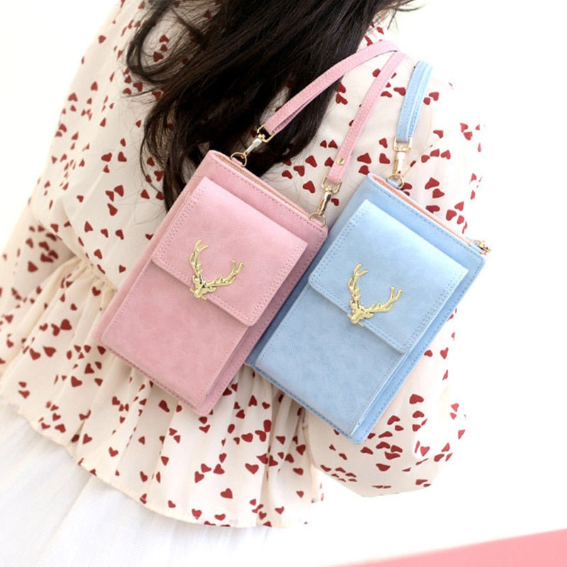 Multifunction Women Nubuck Leather Shoulder Bag Clutch Phone Bag