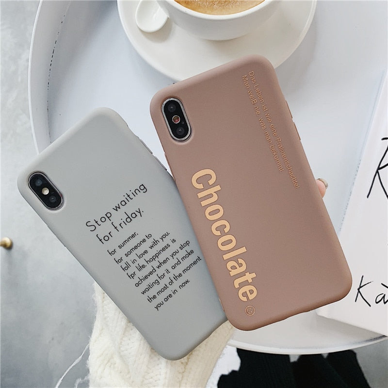 Funny Letter Print Phone Case Matte Back Cover For iPhone
