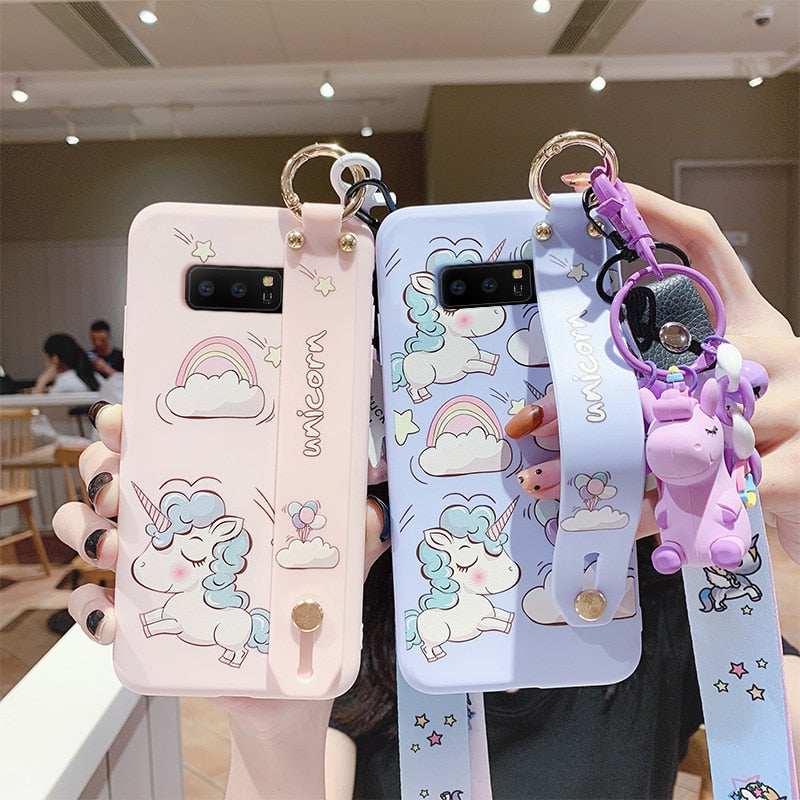 Cute Cartoon Samsung Note 10 Case Unicorn Phone Case & Strap