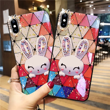 Luxury Diamond Rabbit Streak-print Phone Case iPhone X XS MAX XR