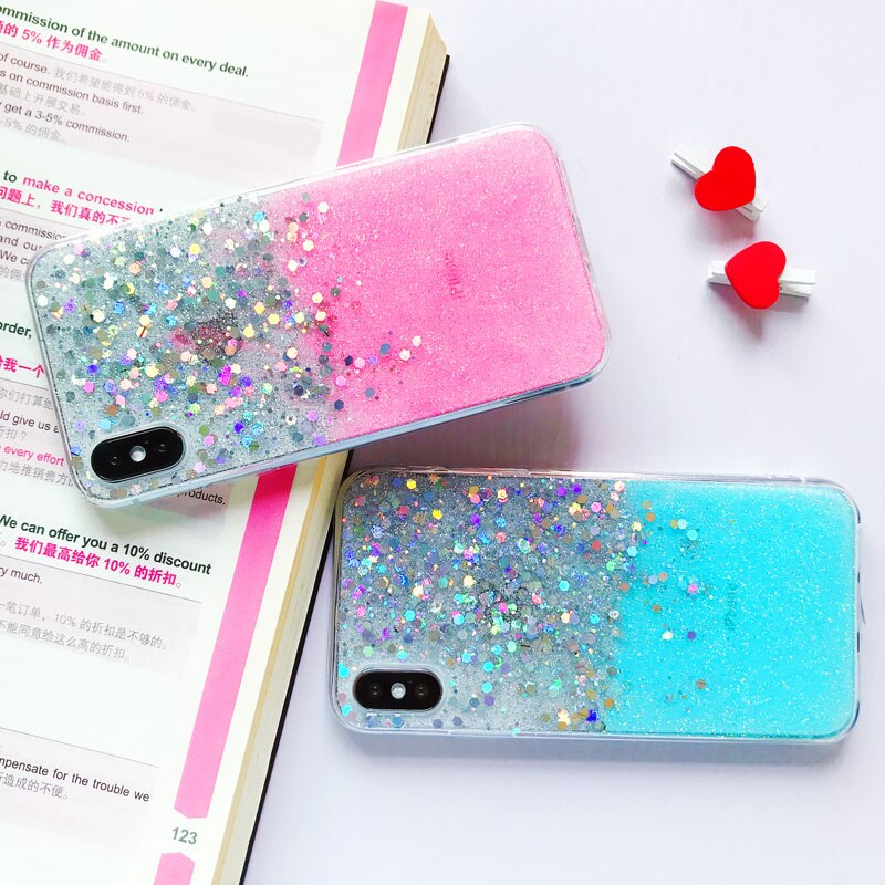 Bling Sequins Glitter Phone Case for iPhone New Cute Transparent Case