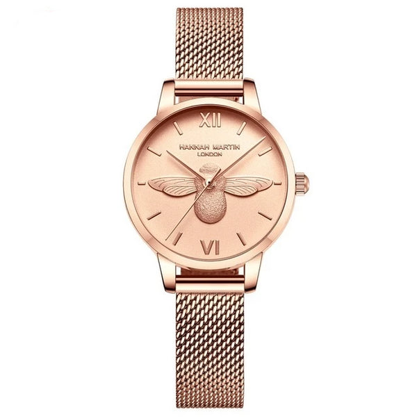 Women Mesh Watches 3D Bee Design Top Brand Japan Quartz Watch
