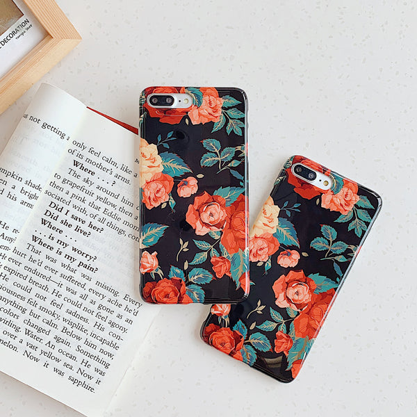 Golden Plating Retro Flowers Phone Cases For iphone 11 11Pro Max
